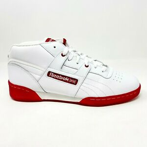 Reebok Workout Mid White Red Ice Mens Leather Training Sneakers V48203