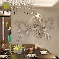 Removable 3D Mirror Flower Wall Sticker Acrylic Mural Decal Home Room Decor FHM