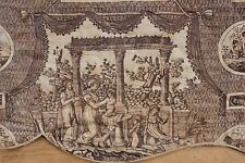 Antique French Toile c1810 purple ORIGINAL quilted valance architectural fabric