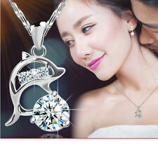 Women 925 Silver Natural Crystal Dolphin Pendant Necklace Lady Christmas Jewelry