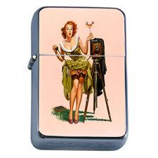 Windproof Refillable Fliptop Oil Lighter Classic Vintage Model Pin Up Girl D-130