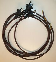 1x ( 2 Metres )Vintage  Radio power cable 3 core in Brown with molded plug !