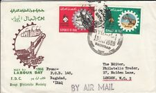 W 3689 Baghdad 1 May 1965 cds Labour Day FDC to London. 2 stamps
