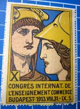 Cinderella/Poster Stamp - 1913 Hungary Congrès Int. l'Enseignement Commerce 880
