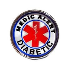 "Noosa Chunks Ginger Style Snap Button Charms ""Diabetic Medic Alert"" 20 mm New"