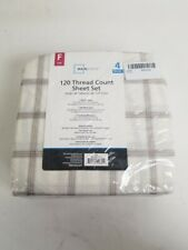 Mainstays 120 Thread Count Full Size 4-Pieces Sheet Set Plaid