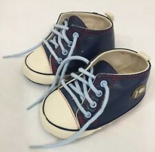 The Childrens Place Baby Boys Blue High Top Shoes Size 2 red trim football motif