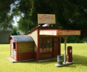 """FOS Scale Custom Built HO Scale Wood Model """"Luck's Gas and Burgers"""""""