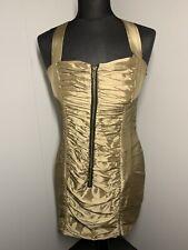 Topshop Brands Size 12 Gold Lame Mini Dress Zip Front (rare London)