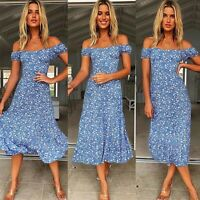 Summer Short Sleeve Floral Women Ruffle Edge Sundress Off Shoulder Long Dress
