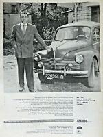 PUBLICITÉ DE PRESSE 1959 LA RENAULT 4 CV LA VOITURE LA MOINS CHÈRE DE FRANCE