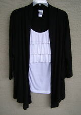 New! Hanes Just My Size Black White Rhinestone Twofer Top Cardigan Sweater 1X