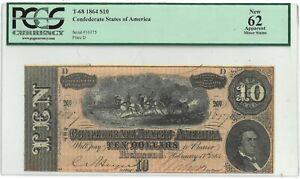 1864 Confederate States T-68 $10 PCGS 62 - 169905K