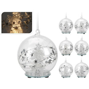 Weihnachtskugeln Christbaumkugeln Weihnachten, LED, Glas, 8cm