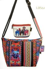 Laurel Burch Stacked Whiskered Cats Medium CrossBody Tote Bag + Makeup Pouch New
