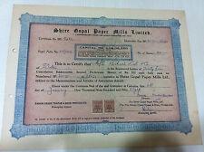 SHREE GOPAL PAPER MILLS THAPAR GROUP 2ND PREF STOCK SHARE CERTIFICATE REV 1958