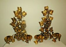 Vintage Italian Gold Gilt Metal Candle Wall Sconce hanging grapes leaves vines