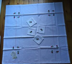 Embroidered Square Tablecloth,4 Matching Napkins,white,100% cotton linen *NEW*
