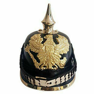 Leather German Prussian Pickelhaube Helmet WW2 Spiked Officer New Year Gift