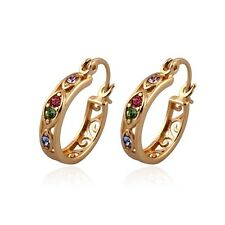 """9ct 9K Yellow """"Gold Filled"""" Multicolour  stones Small Hoop Earrings 20mm Gift"""