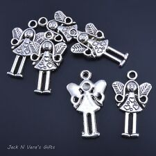 ANGEL FAIRY GIRL DOLL CHARMS  -  Antique Silver Colour Plated 10 Pcs - Crafts