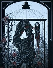 Gothic woman in robes with roses and birdcage comic FANTASY ART 8x10