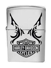 Zippo Harley Davidson Black and White Brushed Chrome, 24766, +Wick +Flints