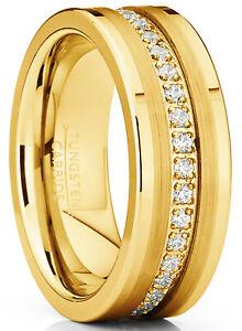 Tungsten Carbide Gold Tone Wedding Band Eternity Ring, Cubic Zirconia