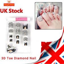 24 x New 3D Metallic Shimmer Diamond Silver Short Fake False Toe Nails Toe Tip