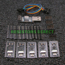 5 Pack Arduino Pro Mini Pro Compatible ATMEGA328P USB Programmer & Cable USA X03
