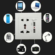2.1A Universial Dual USB Wall Socket Power Adapter PC Outlet Panel ON/OFF Switch