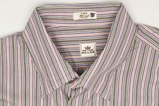 Peter Millar Mens Shirt L Multi-Color Stripe Cotton Button Front Long Sleeve