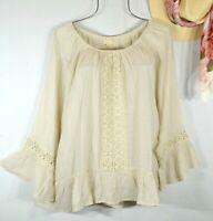 New~$58~ Stone Beige Crochet Lace Peasant Blouse Shirt Ruffle Boho Top Size XL