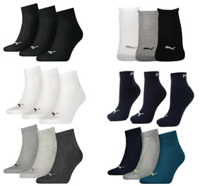 Puma 3 Pairs Ankle Socks Men Women Cotton Rich Quarter Sports Socks Size 6-14