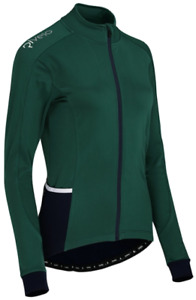 RIVELO Womens Frensham Thermal Long Sleeve Cycling Jersey (Green/Navy) RRP £110