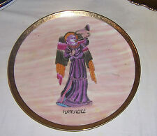 """~  HANDPAINTED ANGEL  """"HAMALIEL""""  ON  GOLD RIMMED  PLATE ~~ ANGEL WITH HORN"""