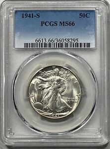 1941-S Walking Liberty 50c Silver Half Dollar PCGS MS 66