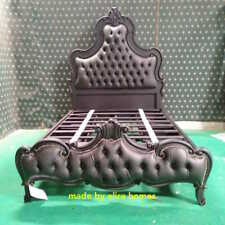 5' King size MATT BLACK Designer Gothic bed with chesterfield style upholstery