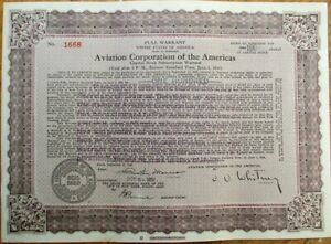 Aviation Corporation of the Americas 1931 Stock/Warrant Certificate - Airline