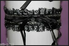 Sexy Sophisticated Black Satin & Lace Garter