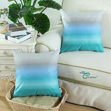 2pcs Square Cushion Covers Pillows Shell Decor Gray to Teal Rainbow 45cm X 45cm