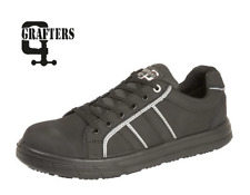 MENS GRAFTERS SAFETY TRAINERS BLACK NUBUCK LEATHER WORK BOOT HIKER STEEL TOE CAP