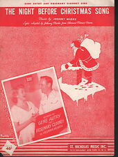 The Night Before Christmas Song 1952 Gene Autry Rosemary Clooney Sheet Music