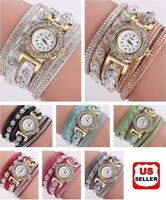 New Fashion Womens Stainless Steel Watch Bling Rhinestone Bracelet Wrist Watch