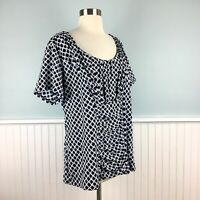 Size 2X Alfani Stretch Ruched Short Sleeve Top Blouse Shirt Women's Plus NWT New