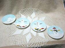 "Mww Market ""How to Build a Snowman"" Mini Ceramic Plates (4) 4 1/2"" Plates Holida"