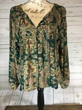 Women's Green Floral Lauren Denim And Supply Peasant Blouse Size S