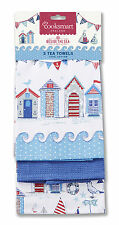 Cooksmart Beside the Sea Tea Towels Pack of 3 Drying Cloth Kitchen Cotton New