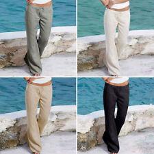 femme printemps été Pantalon Lin Pantalon loisir vacances plage chino kaki cargo