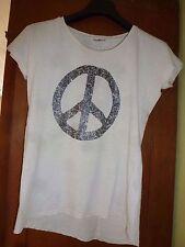 PEACE Shirt natur beige Gr 38 40 M metallisch neuwertig Kurzarm 100 % Baumwolle
